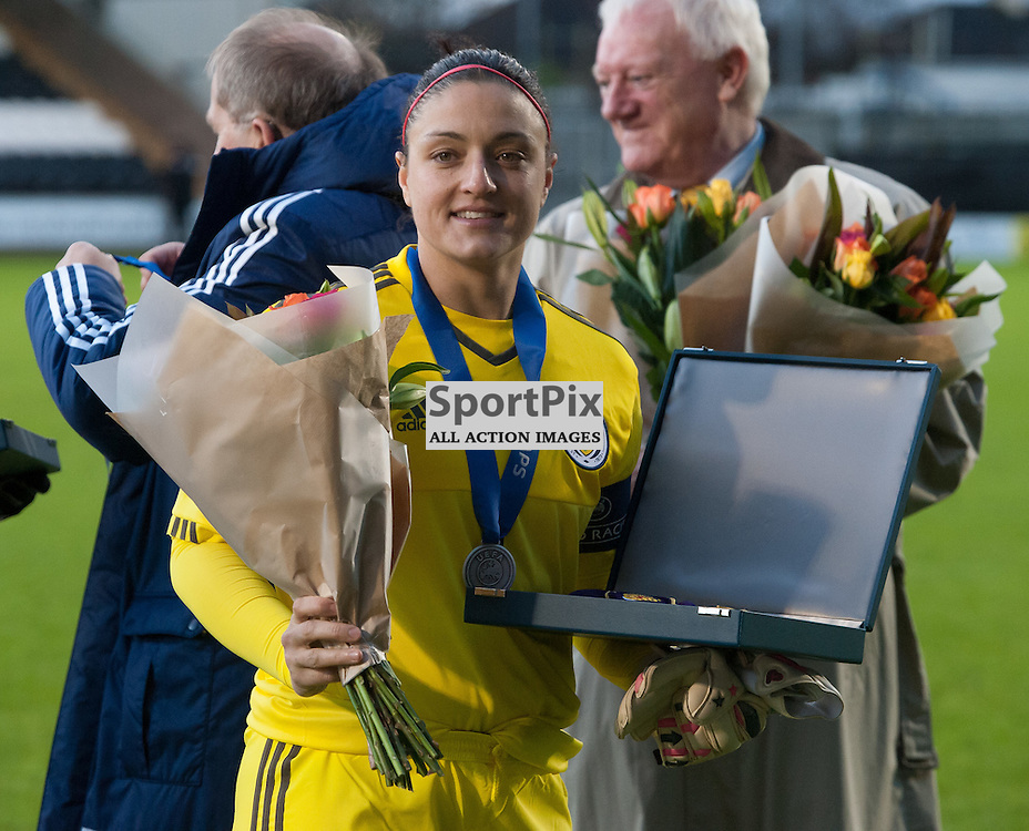 Gemma Fay (Scotland &amp; Celtic) receives a presentation before kick-off<br /> <br /> UEFA Women's European Championship Qualifying - Group 1 <br /> Scotland v FYR Macedonia<br /> St Mirren Park, Paisley<br /> Sunday 29 November 2015<br /> <br /> &copy; Russel Hutcheson | SportPix 2015