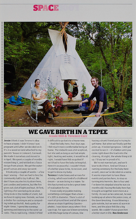 'Born in a Tepee'.<br /> <br /> Commissioned by the GUARDIAN WEEKEND MAGAZINE.