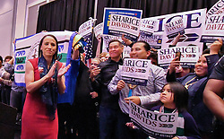 Sharice Davids steps onto the stage to give her victory speech after winning the state's 3rd congressional district race on Tuesday, November 6, 2018, at her watch party in Olathe, Kan. Photo by John Sleezer/Kansas City Star/TNS/ABACAPRESS.COM