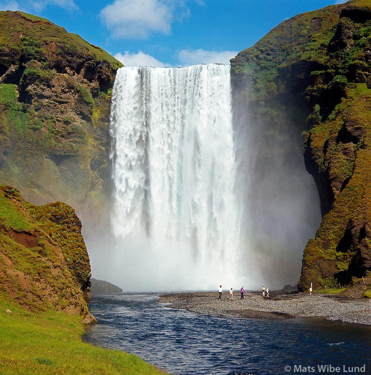 Skógafoss séð til norðurs,  Rangárþing eystra áður Austur-Eyjafjallahreppur. /  Skogafoss waterfall viewing north, Rangarthing eystra former Austur-Eyjafjallahreppur.