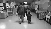 Quadir  leaves  preschool in Newark with his father Kevin Rahman Hutchins.