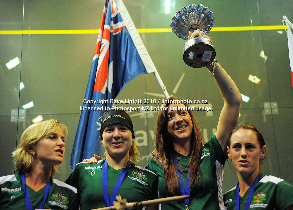 The Australian team celebrate victory, from left, Sarah Fitzgerald, Kasey Brown, Donna Urquhart and Rachael Grinham. Women's World Squash Teams final at International Pacific College Rec Centre, Palmerston North, New Zealand on Saturday, 4 December 2010. Photo: Dave Lintott / photosport.co.nz