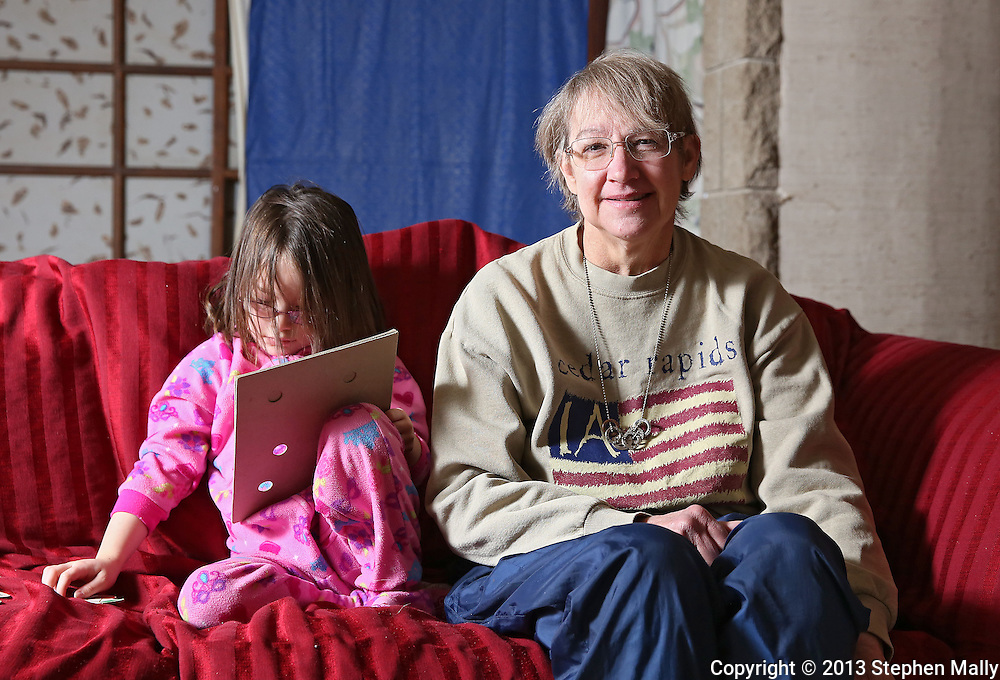 Cathy Faulkner (right) and her granddaughter, Kayleigh Faulkner, 4, at her house in Cedar Rapids on Wednesday, February 27 2013.