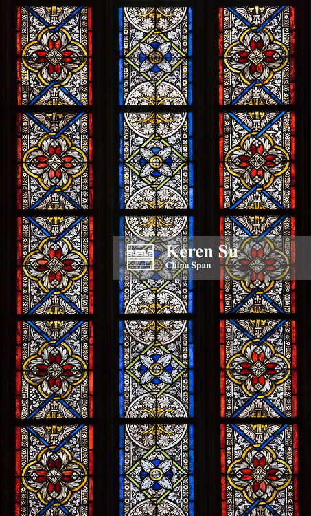 Window of stained glass, Evangelical Church of Sibiu, Romania