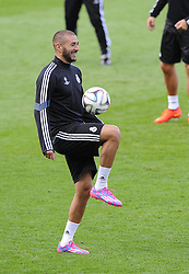Real Madrid's Karim Benzema - Photo mandatory by-line: Joe Meredith/JMP - Mobile: 07966 386802 11/08/2014 - SPORT - FOOTBALL - Cardiff - Cardiff City Stadium - Real Madrid v Sevilla - UEFA Super Cup - Press Conference and Open Training session