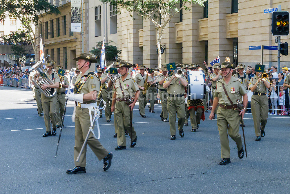 Australian Army band marches during Brisbane ANZAC day 2013 parade <br /> <br /> Editions:- Open Edition Print / Stock Image