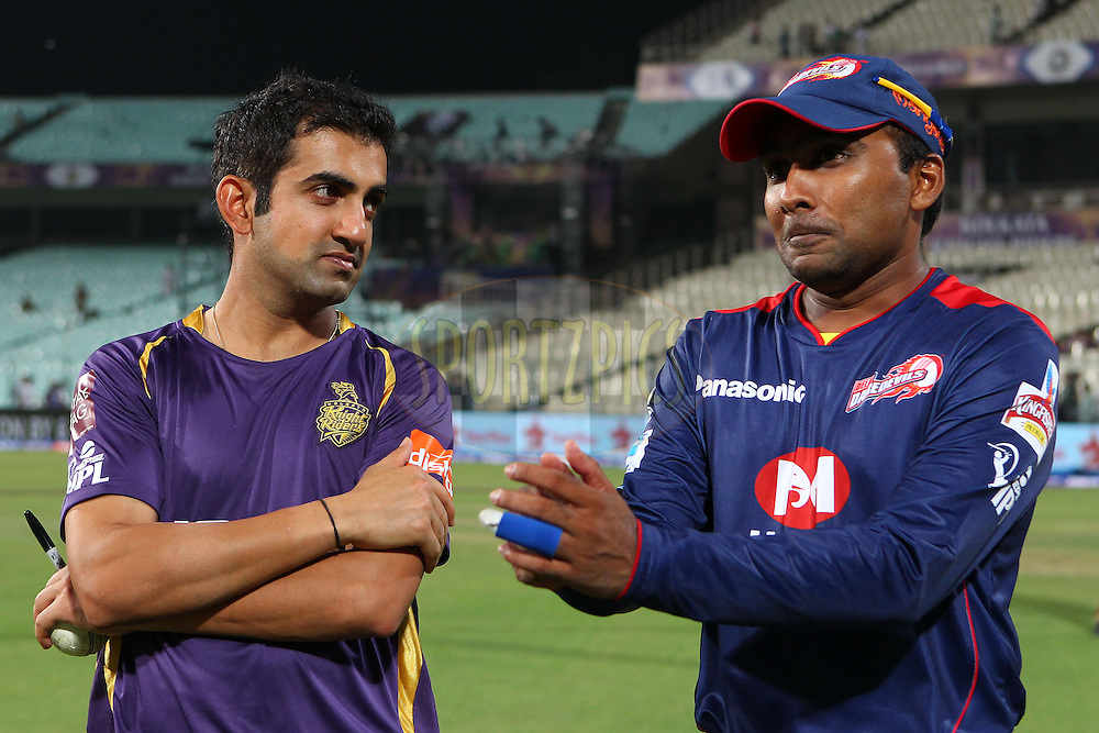 Gautam Gambhir and Mahela Jayawardene chat after the match during the opening match of the Pepsi Indian Premier League between the Kolkata Knight Riders and The Delhi Daredevils  held at the Eden Gardens Stadium in Kolkata on the 3rd April 2013..Photo by Ron GauntSPORTZPICS/IPL..Use of this image is subject to the terms and conditions as outlined by the BCCI. These terms can be found by following this link:..http://www.sportzpics.co.za/image/I0000SoRagM2cIEc