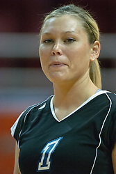 30 September 2006: Bulldog Kara Engebrecht..The Drake Bulldogs opened the match with a decisive win in the 1st game, but struggled in the next 3.  The Illinois State Redbirds took the match 3 games to 1.The match took place at Redbird Arena on the campus of Illinois State University in Normal Illinois.