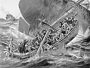 Russo-Japanese War 1904-1905:  Japanese warship 'Hatsuse' foundering, the mainmast falling across one of ship's boats.