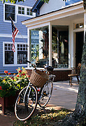Image of a bicycle in front of an antique store in East Hampton, Long Island, New York, east coast