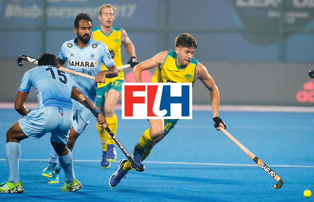 BHUBANESWAR - The Odisha Men's Hockey World League Final . Match ID 02. Australia v India. Eddie Ockenden (Aus) and Uthappa Sannuvanda (Ind)   .WORLDSPORTPICS COPYRIGHT  KOEN SUYK