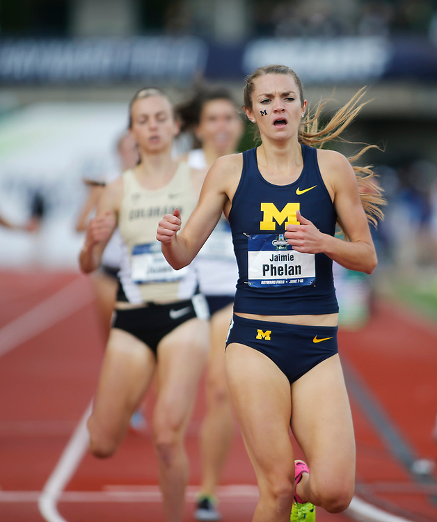 Michigan's Jamie Phelan wins the women's 1500 meters in the time of 4 minutes, 13.78 seconds on the final day of the NCAA outdoor college track and field championships in Eugene, Ore., Saturday, June 10, 2017. (AP Photo/Timothy J. Gonzalez)