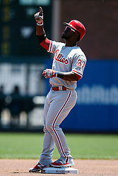 SAN FRANCISCO, CA - JUNE 26: Odubel Herrera #37 of the Philadelphia Phillies celebrates after hitting a double against the San Francisco Giants during the first inning at AT&T Park on June 26, 2016 in San Francisco, California.  (Photo by Jason O. Watson/Getty Images) *** Local Caption *** Odubel Herrera