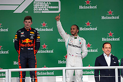 November 17, 2019, Sao Paulo, Sao Paulo, Brazil: MAX VERSTAPEN, of Red Bull Racing 1st and LEWIS HAMILTON, of Mercedes AMG Petronas, 3th place of the Formula One Grand Prix of Brazil 2019 at Interlagos circuit, in Sao Paulo, Brazil, on Sunday, November 17. (Credit Image: © Paulo Lopes/ZUMA Wire)
