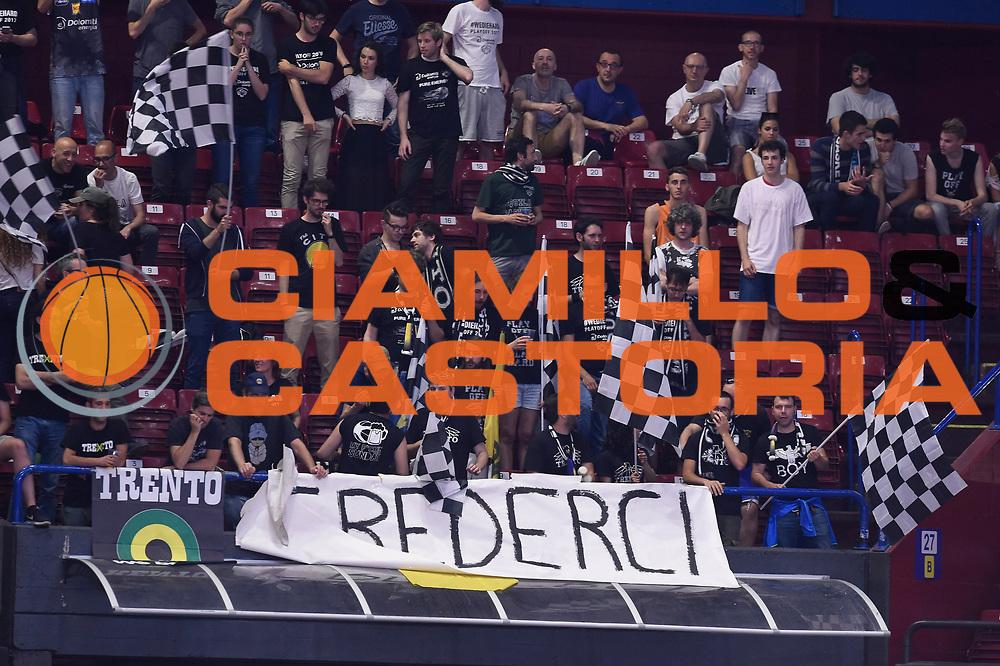 Tifosi Trento<br /> EA7 Emporio Armani Olimpia Milano - Dolomiti Energia Aquila Basket Trento<br /> Lega Basket Serie A, Semifinali Playoff 2016/2017<br /> Milano, 25/05/2017<br /> Foto Ciamillo-Castoria