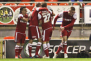 Picture by David Horn/Focus Images Ltd +44 7545 970036.16/10/2012.Ryan Brunt (right) of Leyton Orient celebrates scoring the opening goal  during the npower League 1 match at the Matchroom Stadium, London.