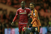 Albert Adomah (Middlesbrough) and Nathan Byrne (Wolverhampton Wanderers) during the Sky Bet Championship match between Middlesbrough and Wolverhampton Wanderers at the Riverside Stadium, Middlesbrough, England on 4 March 2016. Photo by Mark P Doherty.