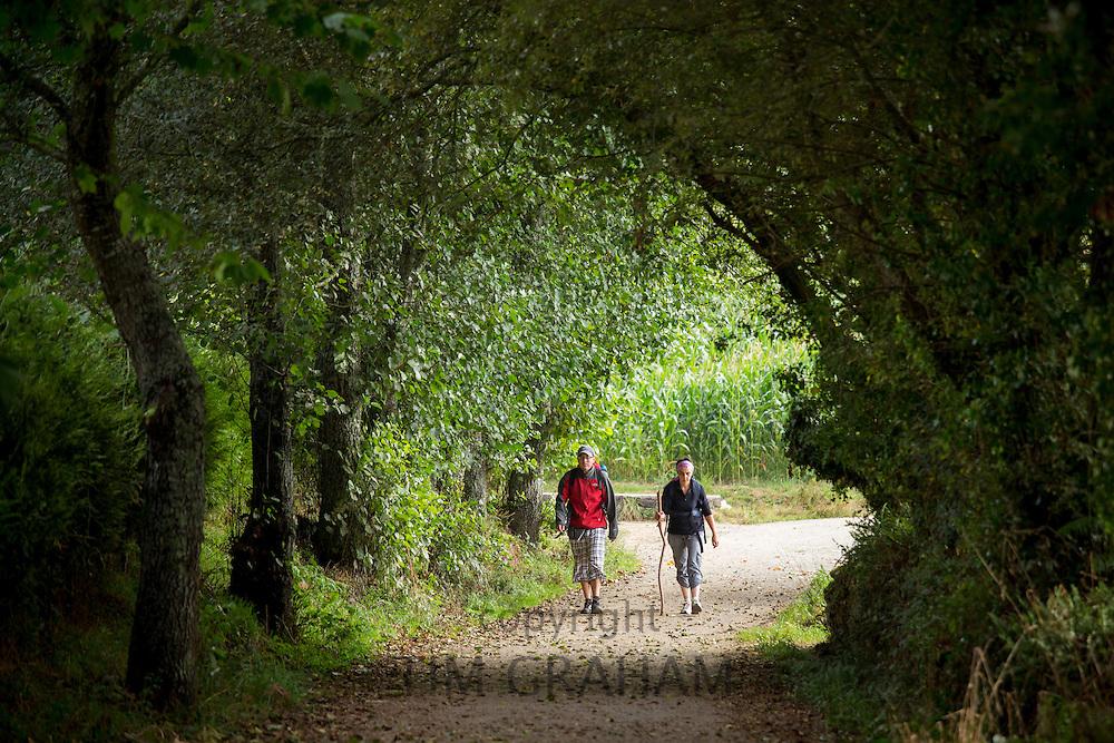 Pilgrim couple on the Camino de Santiago PIlgrim's Way to Santiago de Compostela in Galicia, Spain