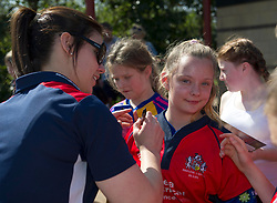 Red Roses captain Sarah Hunter signs a young fan's shirt - Mandatory by-line: Paul Knight/JMP - 09/04/2017 - RUGBY - Cleve RFC - Bristol, England - Bristol Ladies v Saracens Women - RFU Women's Premiership Play-off Semi-Final