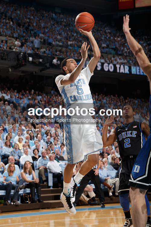 CHAPEL HILL, NC - MARCH 09: Marcus Paige #5 of the North Carolina Tar Heels shoots the ball on March 09, 2013 at the Dean E. Smith Center in Chapel Hill, North Carolina. Duke won 69-53. (Photo by Peyton Williams/UNC/Getty Images) *** Local Caption *** Marcus Paige