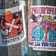"Humorous political Anti President Trump Sticker""Fascists Out"" and ""Overthow""."