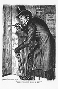 Robert Louis Stevenson 'The Strange Case of Dr Jekyll and Mr Hyde' first published 1886. Mr Hyde letting himself in after his night's adventures to take the antidote and to resume the character of Dr Jekyll. Illustration by Edmund J Sullivan from an edition published 1928.