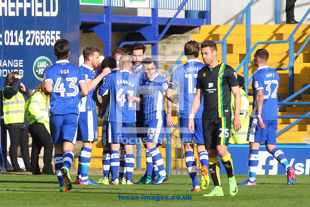 The Sheffield Wednesday players celebrate their side&rsquo;s 2nd goal during the Sky Bet Championship match at Hillsborough, Sheffield<br /> Picture by Paul Chesterton/Focus Images Ltd +44 7904 640267<br /> 04/03/2017
