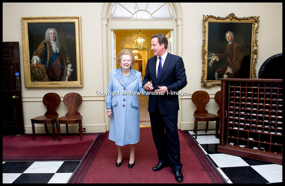 British Prime Minister David Cameron talks to former Prime Minister Baroness Thatcher inside Number 10 Downing Street, Tuesday June 8, 2010. Photo By Andrew Parsons/ i-Images<br />