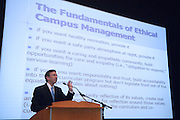 """18261Tim Dodd visiting campus, a national expert on academic honesty and the director of the Academic Integrity Institute at Duke University.. Gave a Stocker Lecture on """"On the road to a campus culture of integrity at Ohio University: Posting speed limits and installing speed bumps."""""""