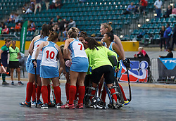 The Western Province Peninsula team in a huddle before their game against the KZN Inland team during the interprovincial indoor hockey tournament held at the Bellville Velodrome, Cape Town, on the 13th October 2016. Photo by: John Tee/RealTime Images