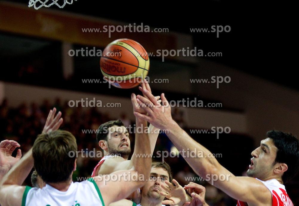 Erazem Lorbek of Slovenia vs Zaza Pachulia of Georgia  during basketball match between National teams of Slovenia and Georgia in Group D of Preliminary Round of Eurobasket Lithuania 2011, on September 3, 2011, in Arena Svyturio, Klaipeda, Lithuania. (Photo by Vid Ponikvar / Sportida)