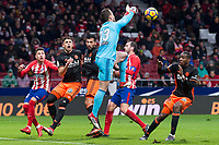 Atletico de Madrid Diego Godin and Valencia Norberto Neto and Ezequiel Garay during La Liga match between Atletico de Madrid and Valencia C.F. at Wanda Metropolitano in Madrid , Spain. February 04, 2018. (ALTERPHOTOS/Borja B.Hojas)