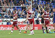 Thomas Leuluai of Wigan Warriors is sin binned by referee Robert Hicks during the Ladbrokes Challenge Cup, Quarter Final match against Warrington Wolves at the Halliwell Jones Stadium, Warrington.<br /> Picture by Michael Sedgwick/Focus Images Ltd +44 7900 363072<br /> 02/06/2018