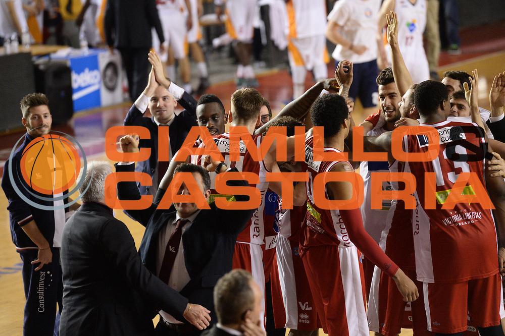 DESCRIZIONE : Roma Lega A 2014-15 Acea Virtus Roma Victoria Libertas Pesaro<br /> GIOCATORE : team Acea Virtus Roma<br /> CATEGORIA : esultanza<br /> SQUADRA : Acea Virtus Roma Victoria Libertas Pesaro<br /> EVENTO : Campionato Lega Serie A 2014-2015<br /> GARA : Acea Virtus Roma Victoria Libertas Pesaro<br /> DATA : 28.02.2014<br /> SPORT : Pallacanestro <br /> AUTORE : Agenzia Ciamillo-Castoria/M.Greco<br /> Galleria : Lega Basket A 2014-2015 <br /> Fotonotizia : Roma Lega A 2014-15 Acea Virtus Roma Victoria Libertas Pesaro