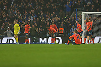 Football - 2019 / 2020 Premier League - Brighton & Hove Albion vs. Everton<br /> <br /> A dejected Everton team after conceding a late own goal to hand Brighton a late victory at The Amex Stadium Brighton <br /> <br /> COLORSPORT/SHAUN BOGGUST