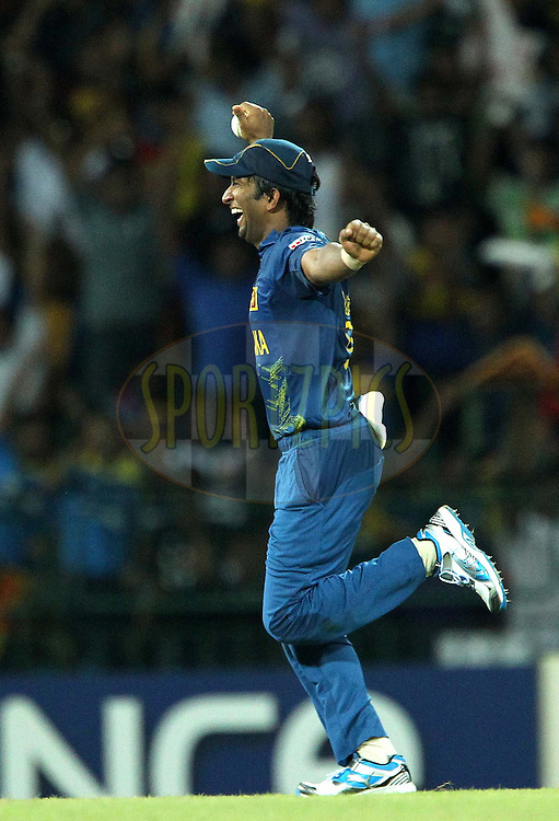 Angelo Matthews celebrates the win during the ICC World Twenty20 semi final match between Sri Lanka and Pakistan held at the Premadasa Stadium in Colombo, Sri Lanka on the 4th October 2012..Photo by Ron Gaunt/SPORTZPICS