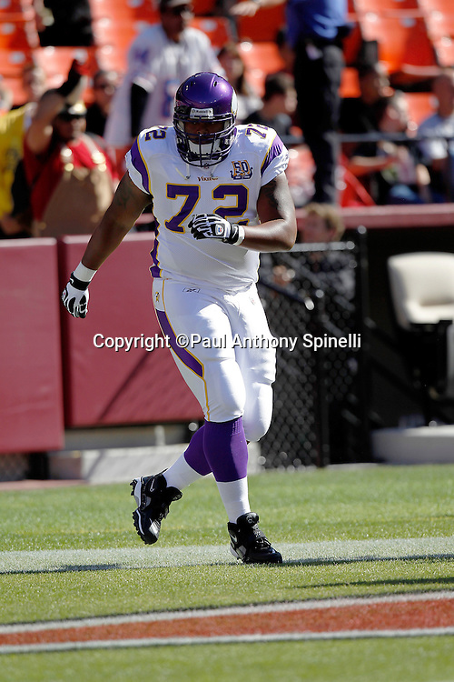 Minnesota Vikings guard Chris DeGeare (72) warms up before the NFL week 2 preseason football game against the San Francisco 49ers on Sunday, August 22, 2010 in San Francisco, California. The 49ers won the game 15-10. ©Paul Anthony Spinelli