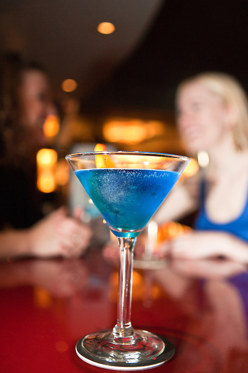 A blue martini at trendy Lounge 201.