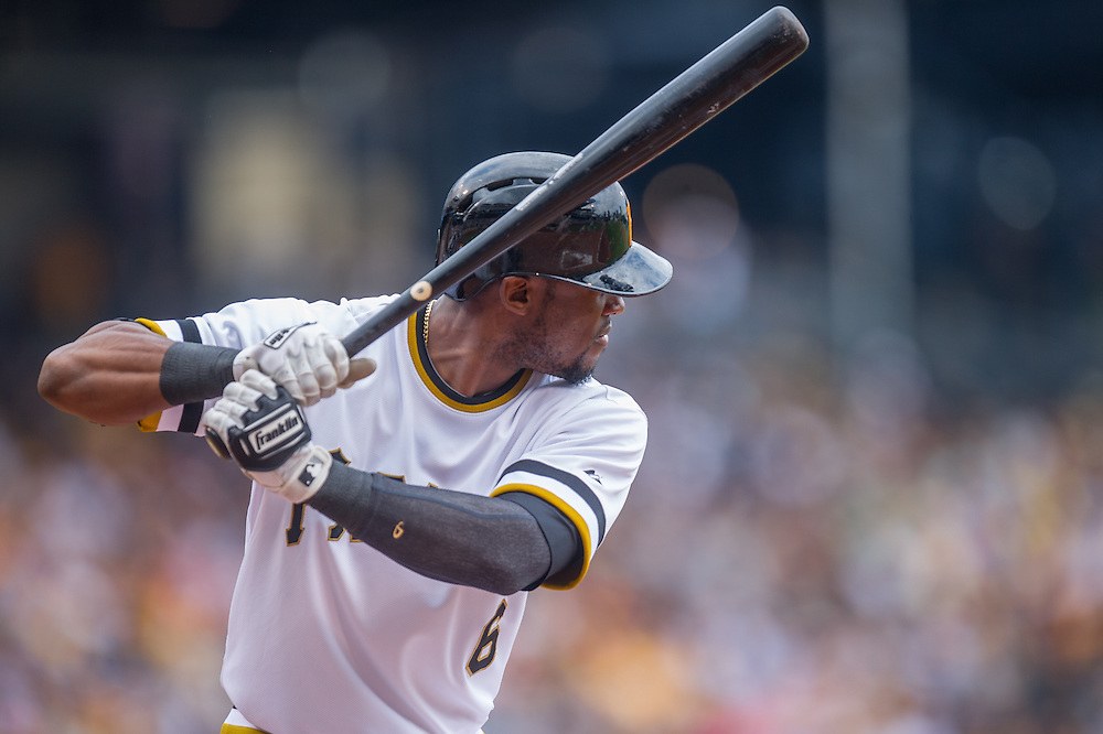 PITTSBURGH, PA - JUNE 08: Starling Marte #6 of the Pittsburgh Pirates bats during the game against the Milwaukee Brewers at PNC Park on June 8, 2014 in Pittsburgh, Pennsylvania. (Photo by Rob Tringali) *** Local Caption *** Starling Marte