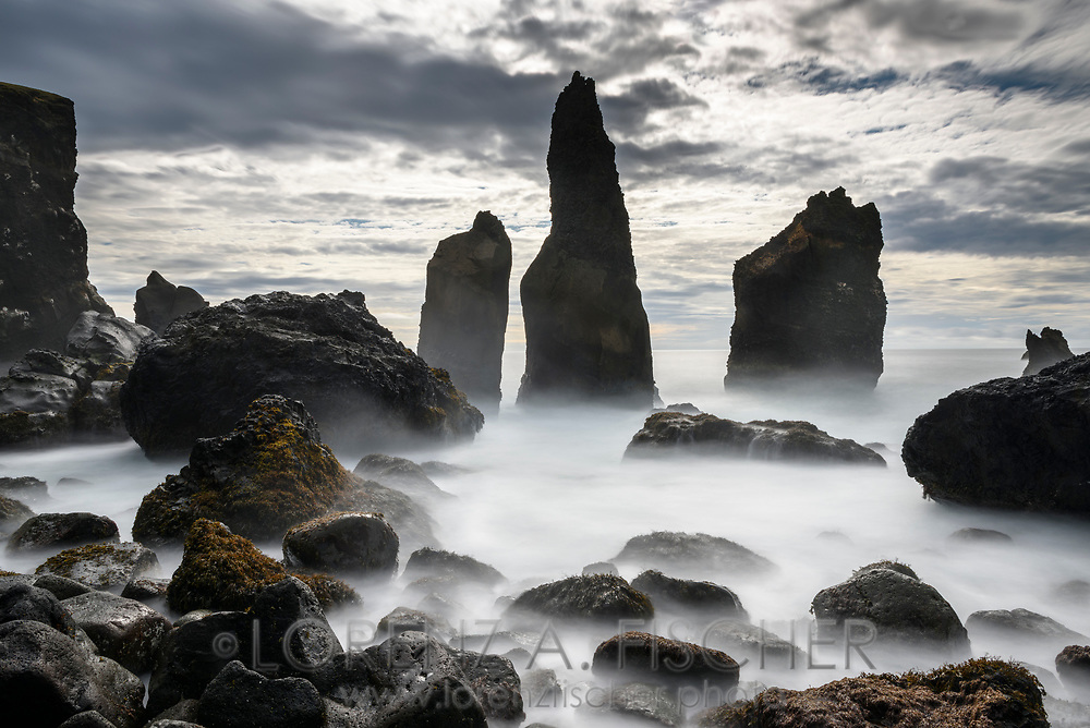 Coast with lava pinnacles and pillars, peninsula Reykjanes, Iceland