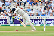 Wicket - Hardik Pandya of India is trapped LBW by Sam Curran of England during second day of the Specsavers International Test Match 2018 match between England and India at Edgbaston, Birmingham, United Kingdom on 2 August 2018. Picture by Graham Hunt.
