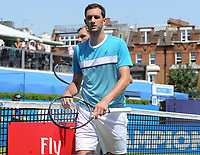 Tennis - 2017 Aegon Championships [Queen's Club Championship] - Day Two, Monday<br /> <br /> Men's Singles, Round of 32<br /> James Ward [GBR] vs. Julien Benneteau [France]<br /> <br /> James Ward after defeat on Court 1<br /> <br /> COLORSPORT/ANDREW COWIE