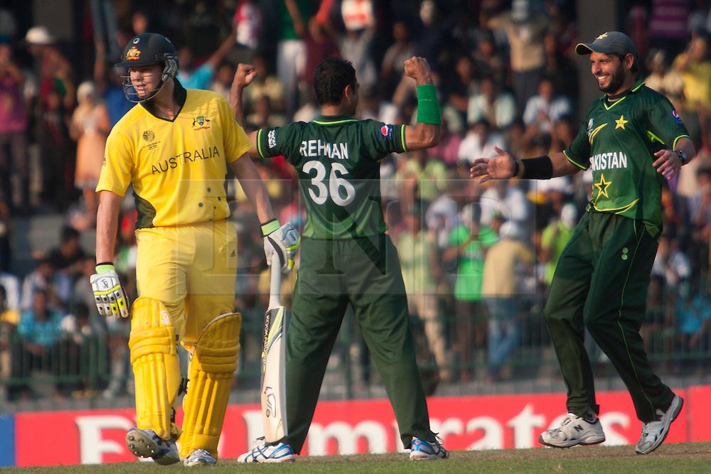 ©London News Pictures. 19/03/2011.Abdur Rehman celebrates teh wicket of Michael Husseyat R.Premadasa Stadium Colombo Sri Lanka