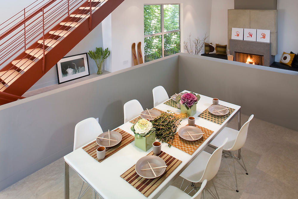 Dinning table in Manhattan Beach, CA Multilevel modern home.