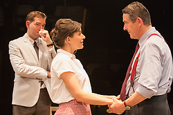 © Licensed to London News Pictures. 01/07/2015. London, UK. L-R: Edward Bennett as Kenneth Tynan, Louise Ford as Joan Plowright and Adrian Lukis as Laurence Olivier. Photocall for the European Premiere of Orson's Shadow by Austin Pendleton at the Southwark Playhouse. The comedy, based on true events as Orson Wells and Laurence Olivier work together for the first time, runs from 1 to 25 July 2015. Photo credit : Bettina Strenske/LNP