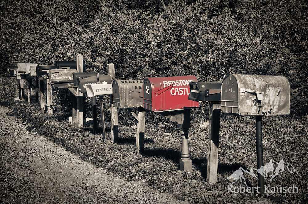 """Redstone's version of """"cluster mail boxes""""... not exactly modern suburbia, but very charming."""