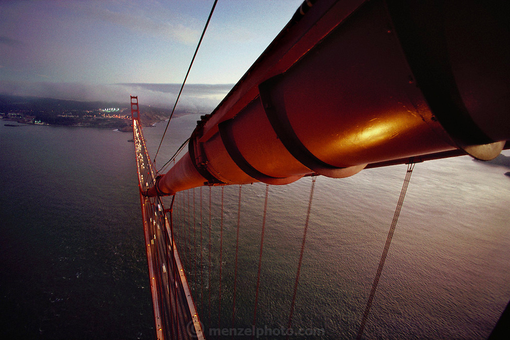 Golden Gate Bridge, San Francisco, California. View looking south from the top of the north tower.
