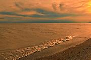 Sun set along the sandy beach of Lake Erie <br />Long Point Provincial Park<br />Ontario<br />Canada