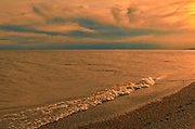 Sun set along the sandy beach of Lake Erie <br />