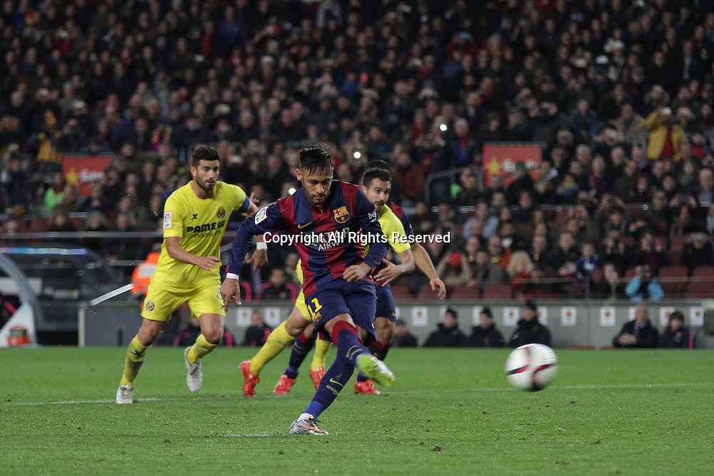 11.02.2015.  Barcelona, Spain. Copa del Rey Semi final 1st Leg. Barcelona versus Villarreal.<br /> Neymar takes the penalty, but it is saved by goalkeeper Asenjo